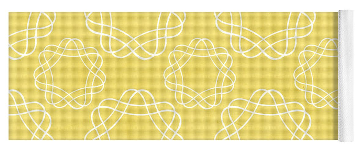 Boho Yoga Mat featuring the mixed media Yellow and White Geometric Floral by Linda Woods