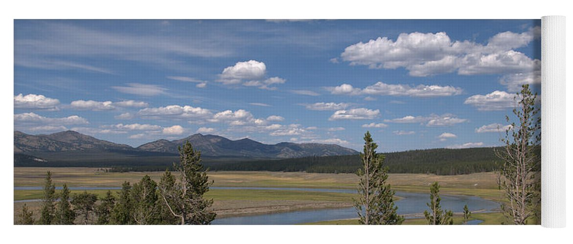 River Yoga Mat featuring the photograph Yellowstone River Through the Hayden Valley by Frank Madia