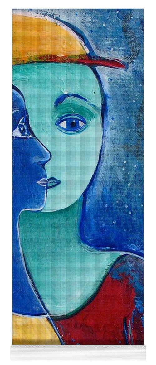 Lovers Yoga Mat featuring the painting You and Me II by Rollin Kocsis