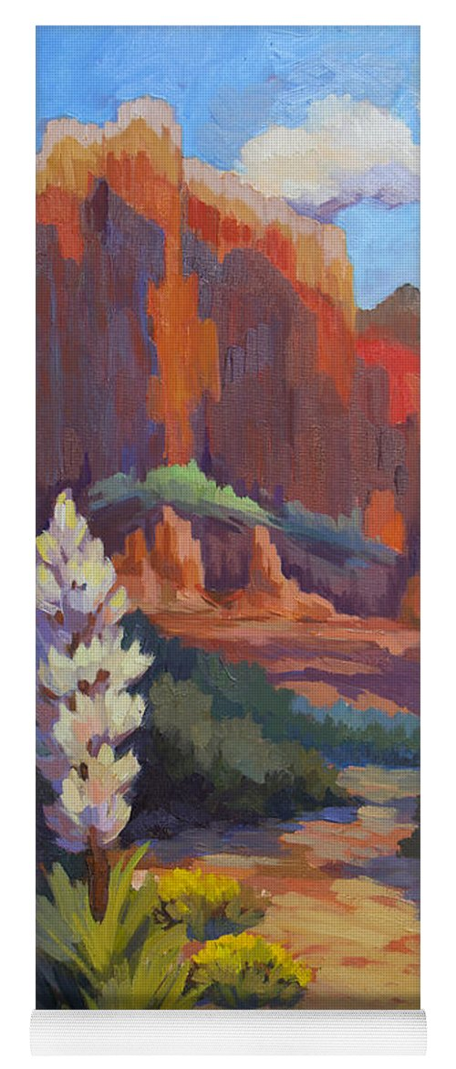 Sedona Yoga Mat featuring the painting Yucca At Sedona by Diane McClary