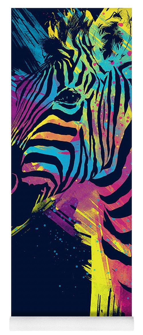 Zebra Yoga Mat featuring the digital art Zebra Splatters by Olga Shvartsur
