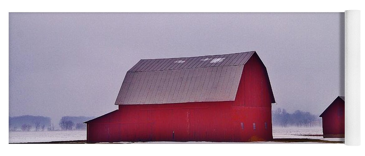 Yoga Mat featuring the photograph Zink Rd Farm 1 In Winter White by Daniel Thompson