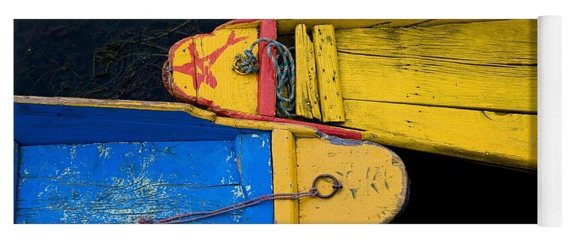 Boat Yoga Mat featuring the photograph Colorful Boats, Srinagar, Dal Lake by David DuChemin