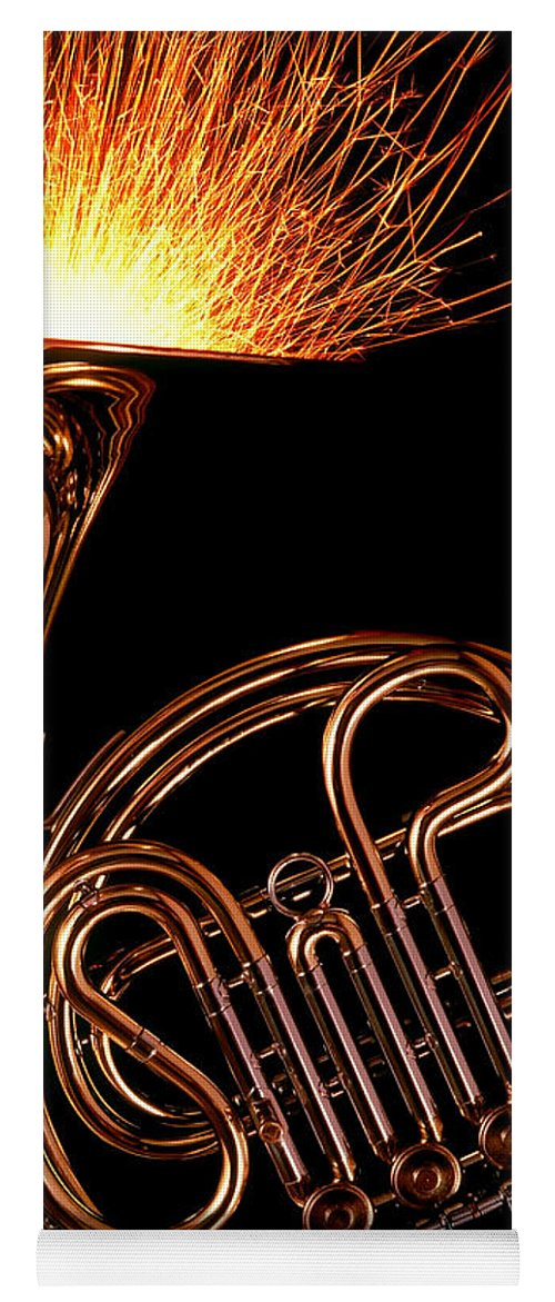 French Yoga Mat featuring the photograph French Horn With Sparks by Garry Gay