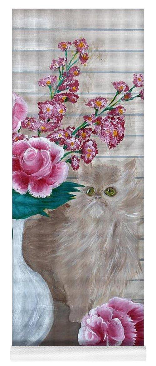 Kitten Yoga Mat featuring the painting Sneaky Kitten by Debbie Levene