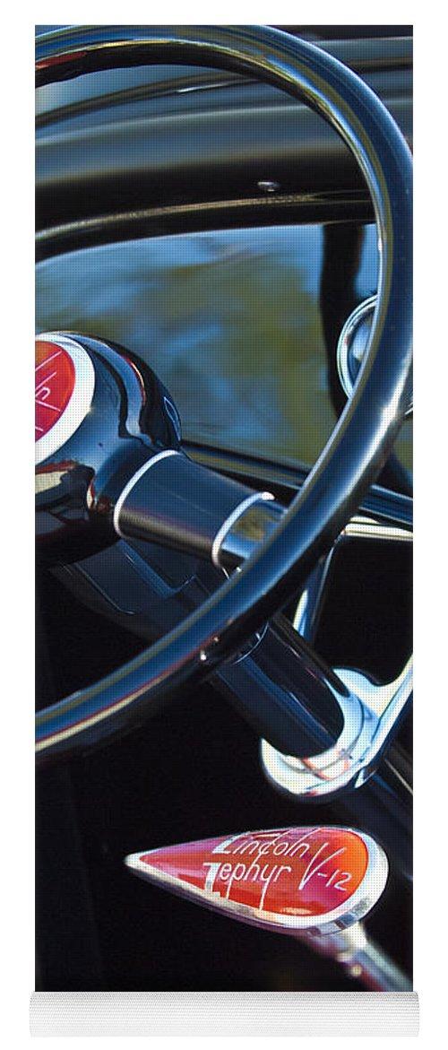 1932 Hot Rod Lincoln V12 Steering Wheel Emblem Yoga Mat For Sale By