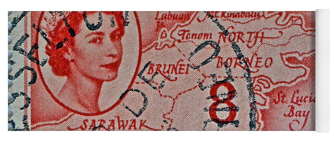 1954 Yoga Mat featuring the photograph 1954 North Borneo Stamp by Bill Owen