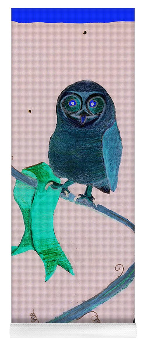 Owl Yoga Mat featuring the painting 2008 Owl Negative by Lilibeth Andre