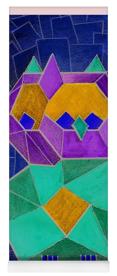 Owl Yoga Mat featuring the painting 2010 Cubist Owl Negative by Lilibeth Andre