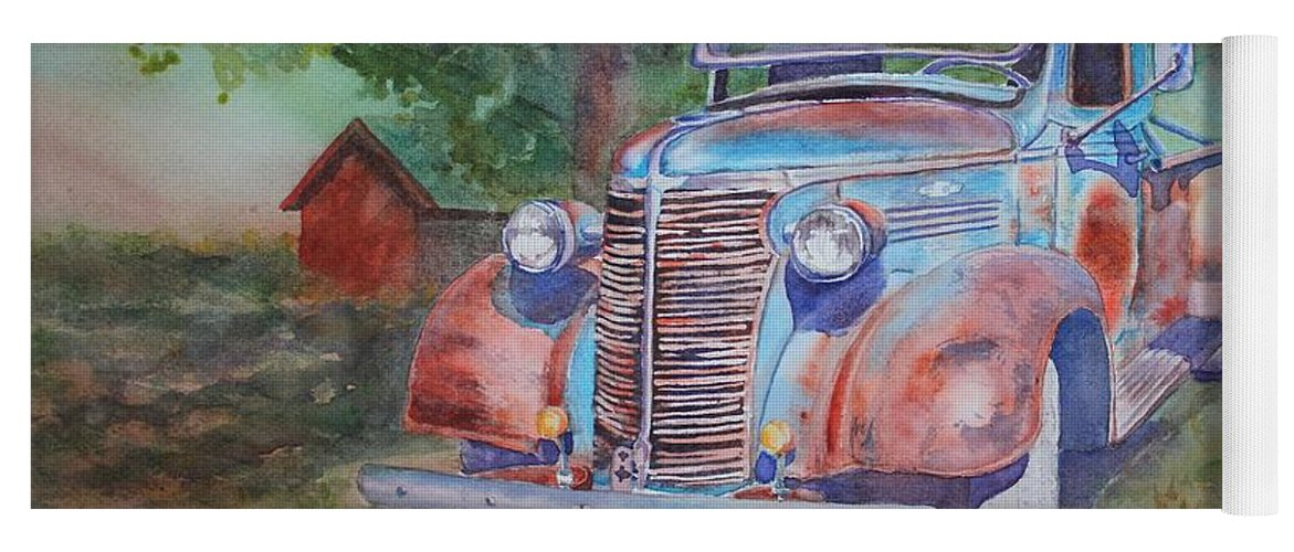 Old Truck Yoga Mat featuring the painting '38 Chevy by Ruth Kamenev