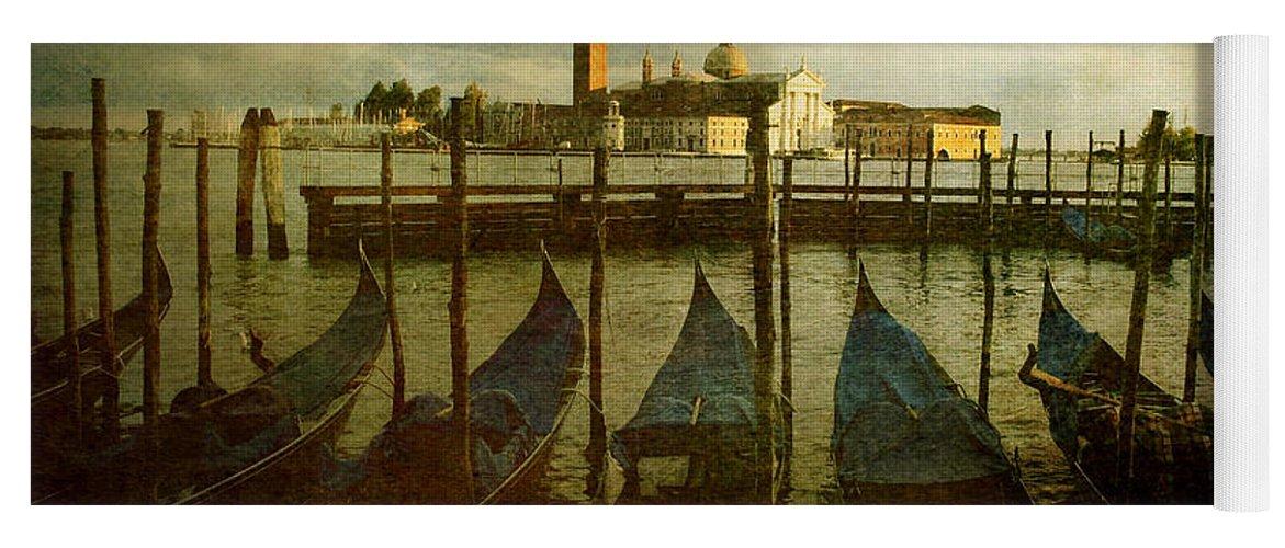 Aged Yoga Mat featuring the photograph Gondolas. Venice by Bernard Jaubert