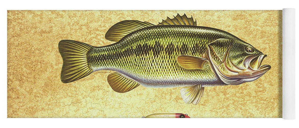 Bass Yoga Mat featuring the painting Antique Lure and Bass by JQ Licensing