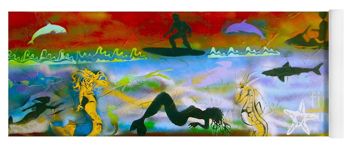 Mermaid Yoga Mat featuring the painting At Sea Gold by Tony B Conscious