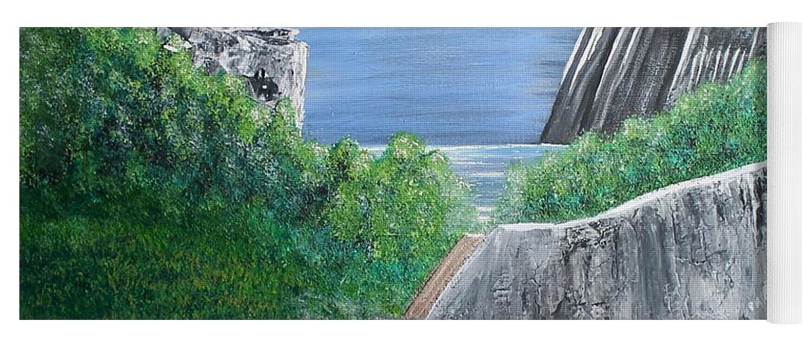 Rocks Yoga Mat featuring the painting Beyond the Rock by Debbie Levene