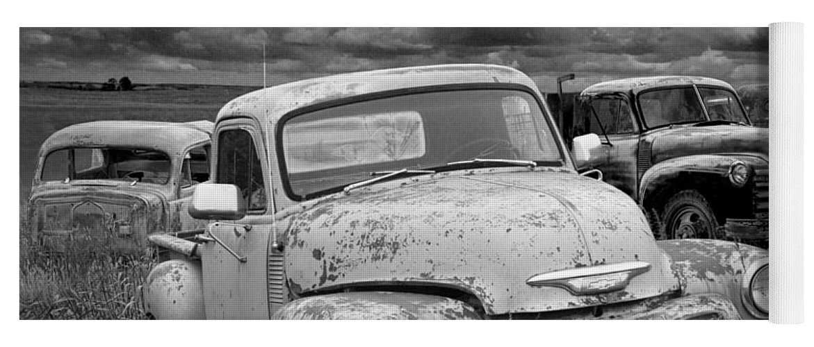 Black And White Photograph Of A Junk Yard With Vintage Auto Bodies ...