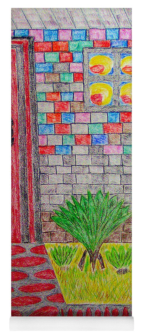 Watercolor On Paper Yoga Mat featuring the painting Brick House by Robyn Louisell