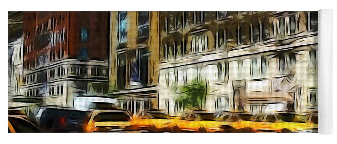 New York Busy Traffic Car Cars Cab Cabs Road Building Light Painting Expressionism Yoga Mat featuring the painting Busy New York by Steve K