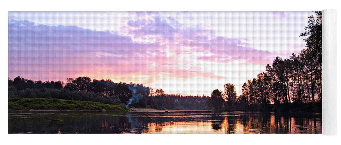 Landscape Yoga Mat featuring the photograph Camp Fire Sunset by Paul Fell