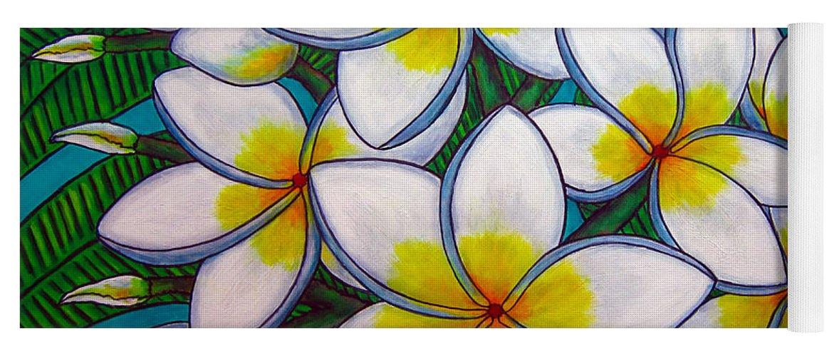 Frangipani Yoga Mat featuring the painting Caribbean Gems by Lisa Lorenz