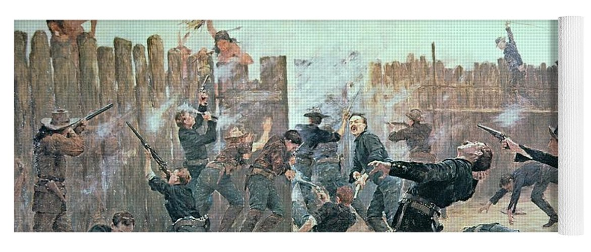 War Yoga Mat featuring the painting Defending The Fort by Charles Schreyvogel