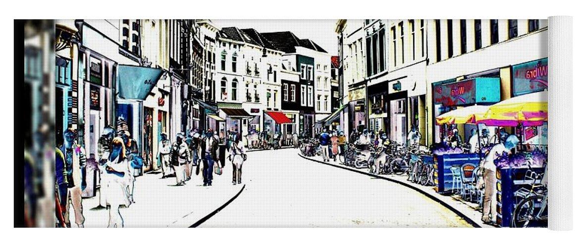 Dutch Yoga Mat featuring the photograph Dutch Shopping Street- Digital Art by Carol Groenen