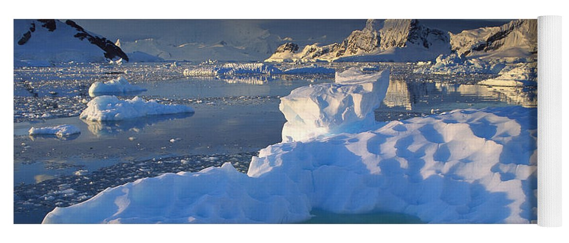 Hhh Yoga Mat featuring the photograph Evening Light On Ice Floes And Peaks by Colin Monteath
