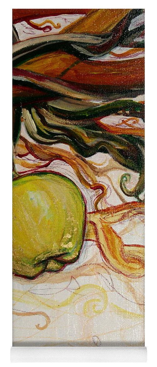 Apple Yoga Mat featuring the painting Fifth World Five by Kate Fortin