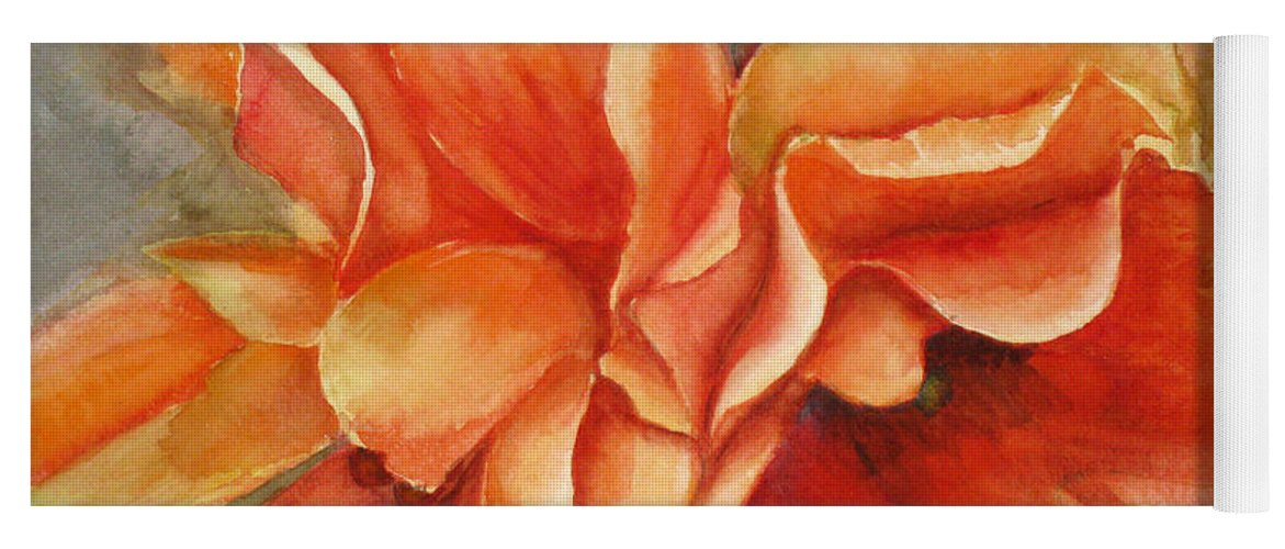 Orange Yoga Mat featuring the painting Floral Flash by Mohamed Hirji