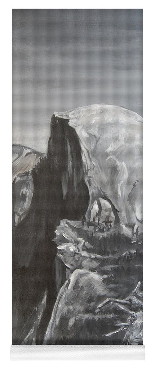 Black And White Painting Yoga Mat featuring the painting Half Dome Tree by Travis Day