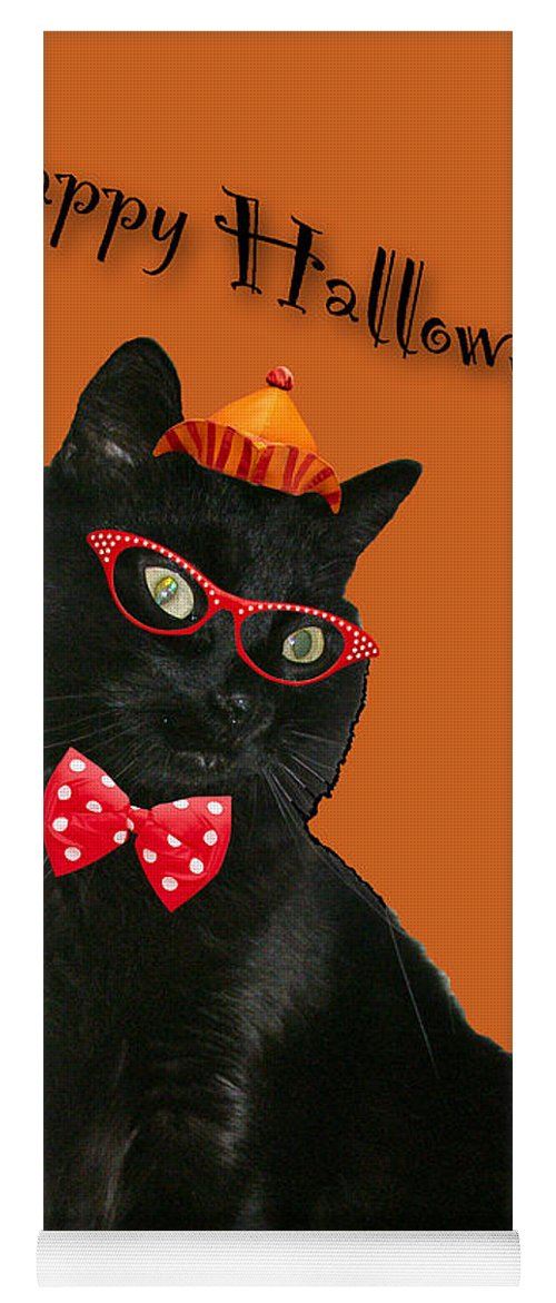 Halloween Yoga Mat featuring the photograph Halloween Card - Black Cat Ready To Party by Mother Nature