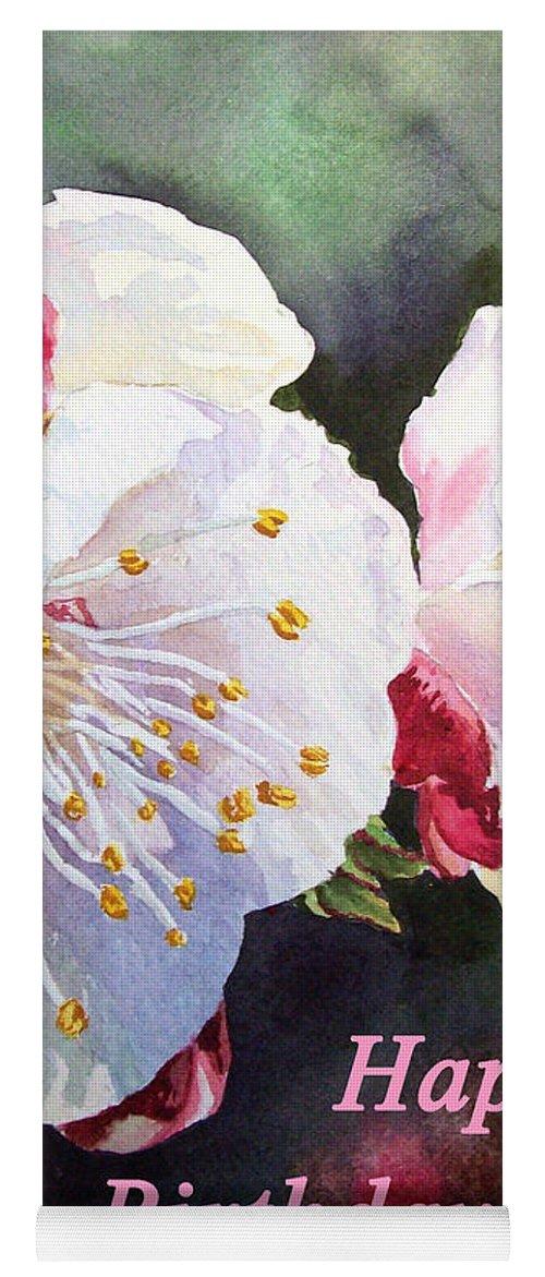 Happy Birthday Card Yoga Mat Featuring The Painting Apricot Flowers By Irina Sztukowski