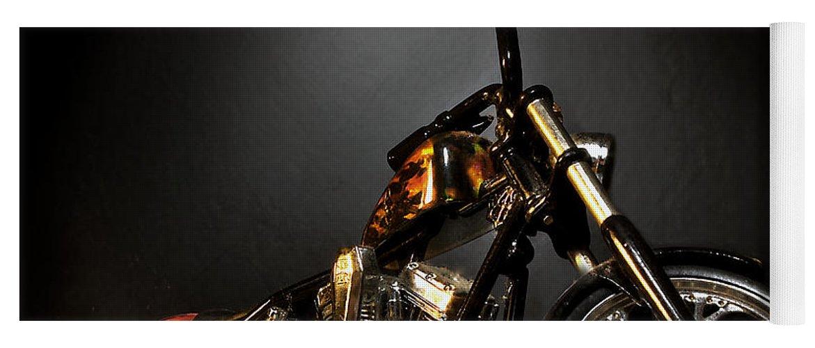 Yoga Mat featuring the photograph Jesse James Bike 2 Detroit MI by Nicholas Grunas
