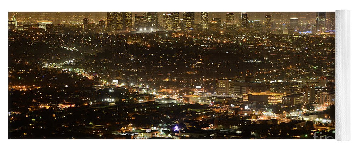 Los Angeles City View At Night Yoga Mat For Sale By Bob Christopher