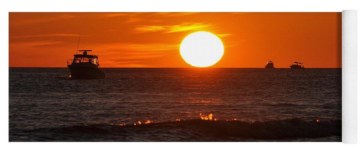 Sunset Yoga Mat featuring the photograph Orange Sunset I by Christine Stonebridge