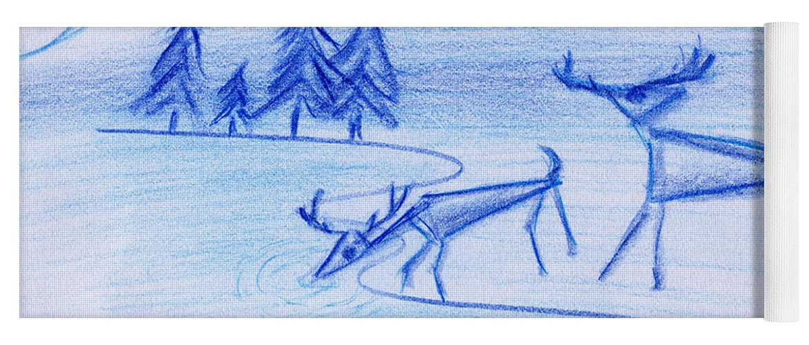 Animals Yoga Mat featuring the painting Prehistoric Scenic by John Bowers