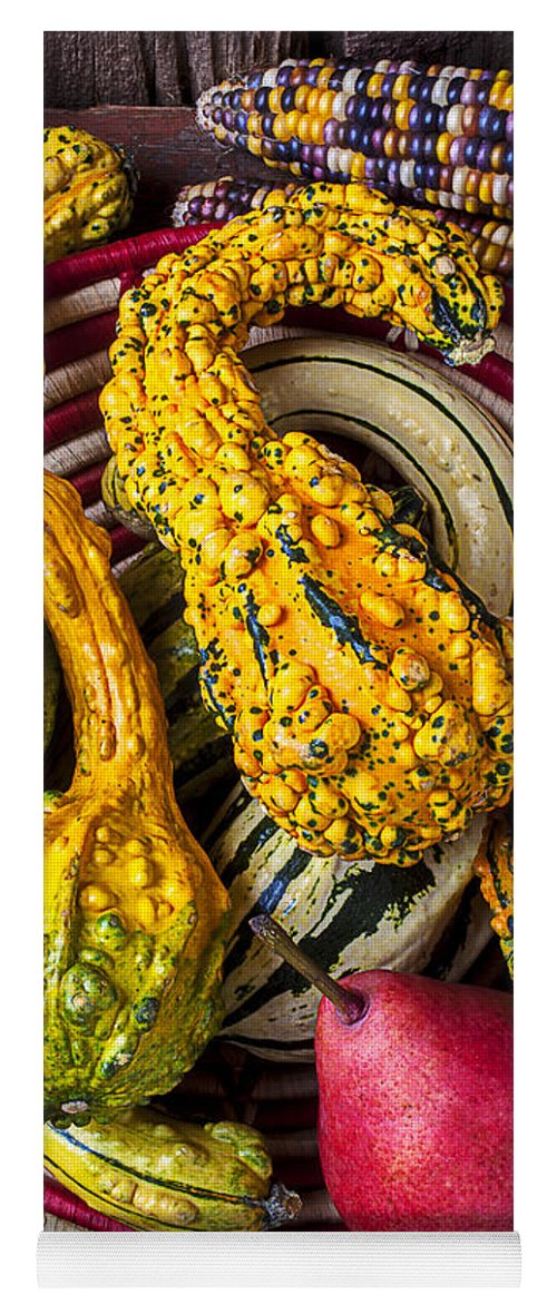 Red Pear Yoga Mat featuring the photograph Red Pear And Gourds by Garry Gay
