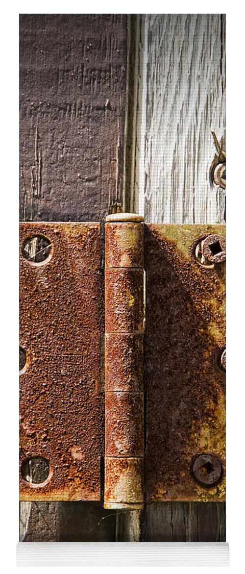 Art Yoga Mat featuring the photograph Rusted Door Hinge No.447 by Randall Nyhof & Rusted Door Hinge No.447 Yoga Mat for Sale by Randall Nyhof