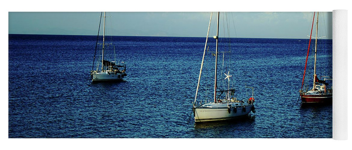 Greece Yoga Mat featuring the photograph Sailing The Blue Waters Of Greece by La Dolce Vita