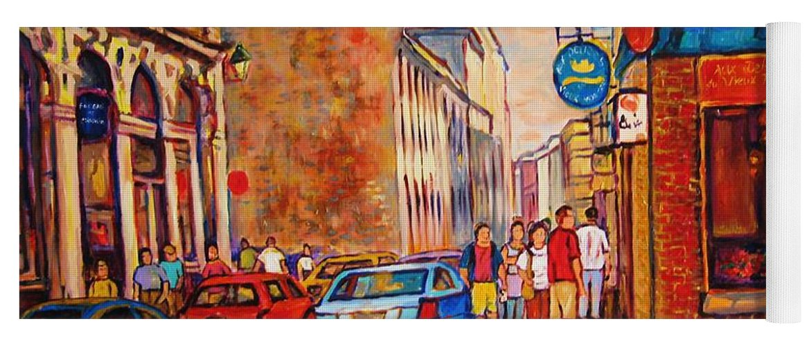 Streetscene Yoga Mat featuring the painting Saint Paul Street Montreal by Carole Spandau