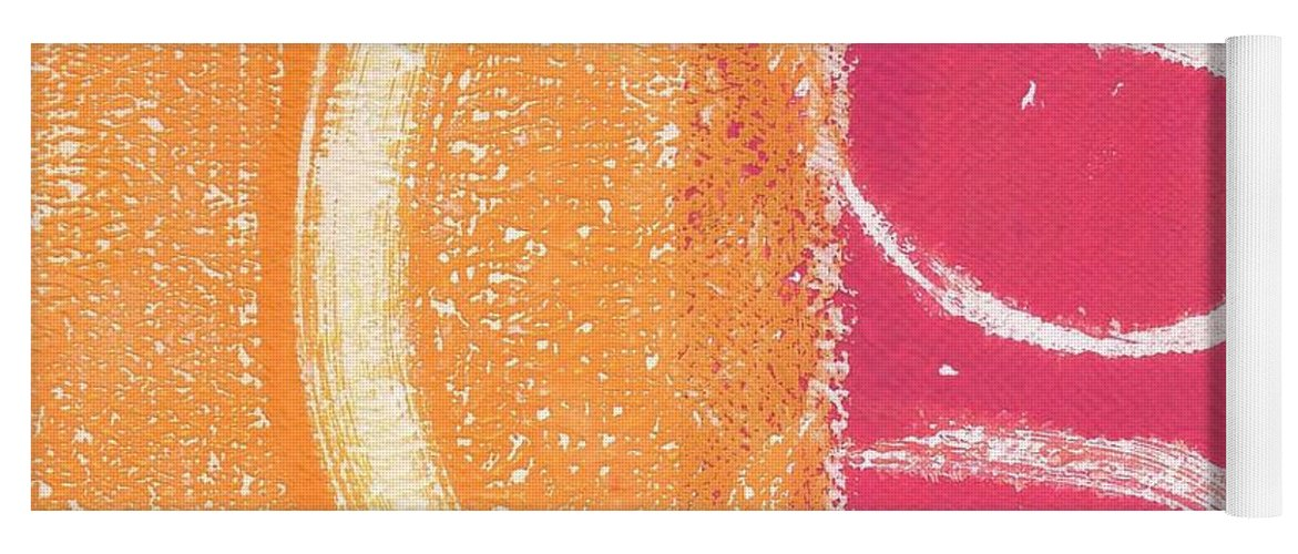 Abstract Yoga Mat featuring the painting Sante Fe Sunrise by Linda Woods