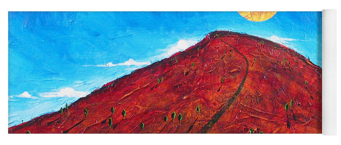 Landscape Yoga Mat featuring the painting Sun Over Red Hill by Rollin Kocsis