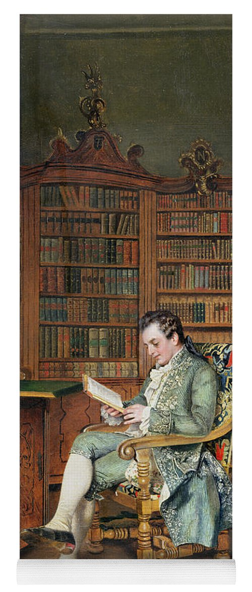 The Bibliophile Yoga Mat featuring the painting The Bibliophile by Johann Hamza