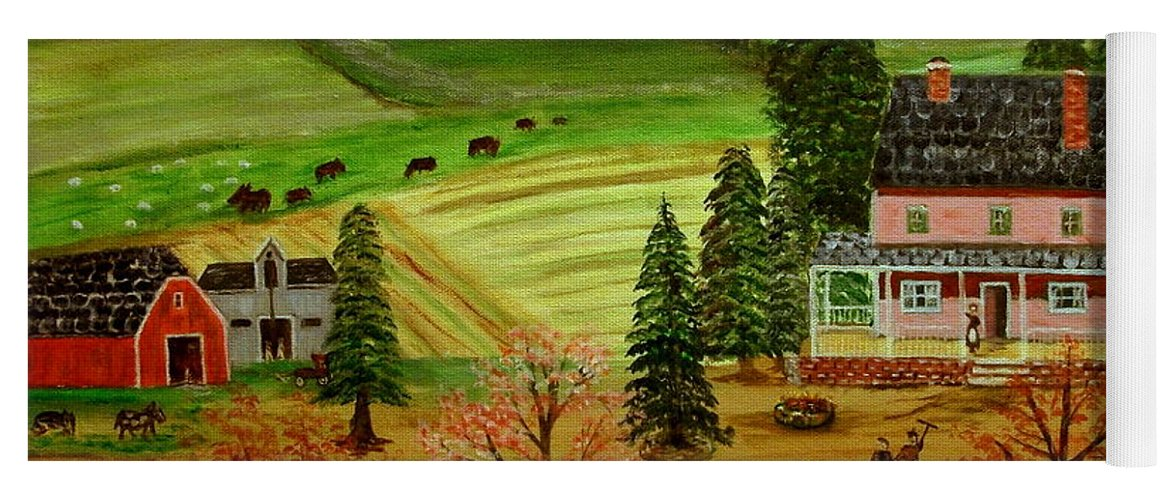 Folk Art Yoga Mat featuring the painting The Farm by Kenneth LePoidevin