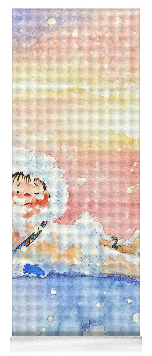 Childrens Book Illustrator Yoga Mat featuring the painting The Figure Skater 6 by Hanne Lore Koehler