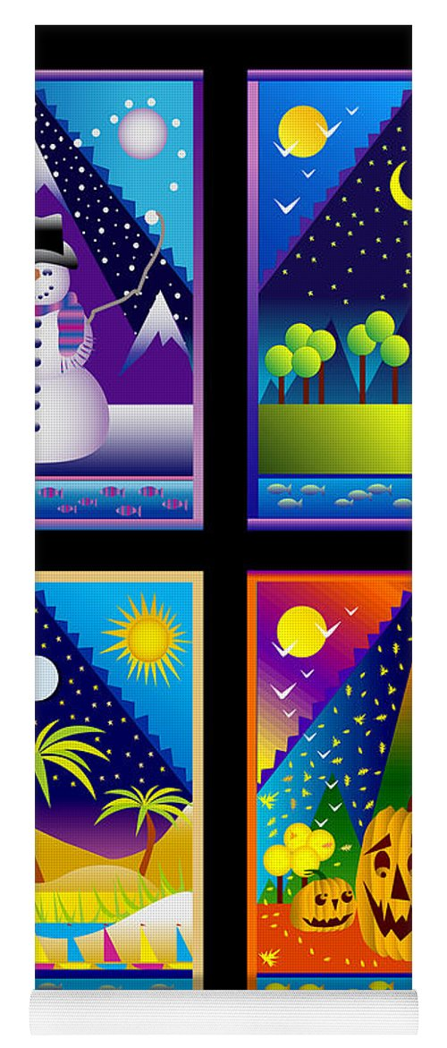 Card Yoga Mat featuring the digital art The Four Seasons by Nancy Griswold