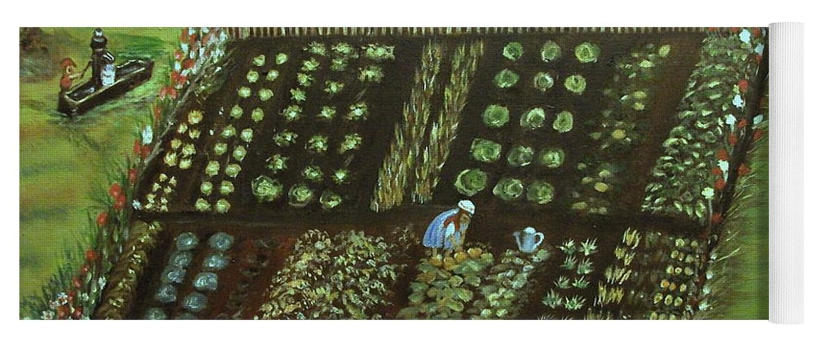 Landscape Yoga Mat featuring the painting The Garden by Kenneth LePoidevin