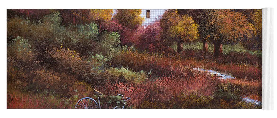 Bike.wood Yoga Mat featuring the painting Una Bicicletta Nel Bosco by Guido Borelli