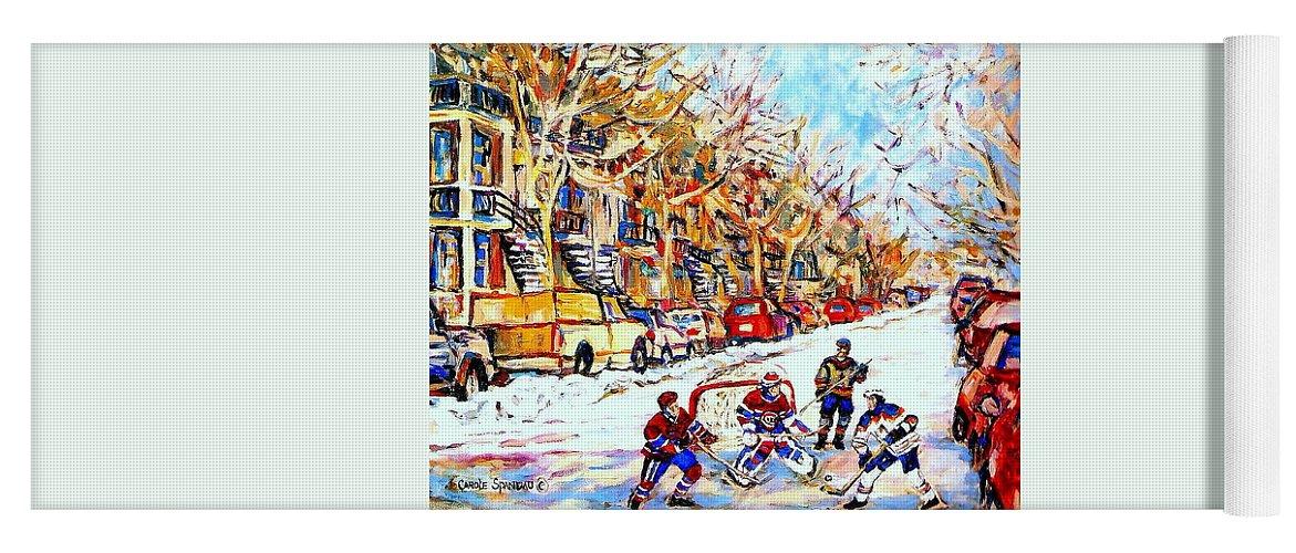 Verdun Street Hockey Game Goalie Makes The Save Classic Montreal