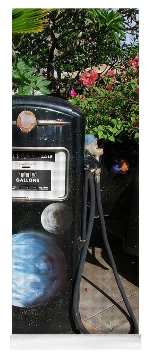 Mary Deal Yoga Mat featuring the photograph Vintage Gas Pump by Mary Deal
