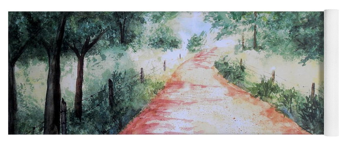 Country Road Yoga Mat featuring the painting A Country Road by Vicki Housel